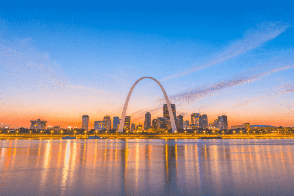 Downtown St. Louis Skyline at sunset from across river