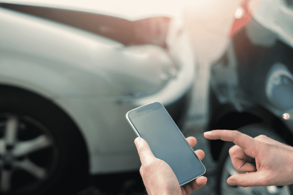 Making phone call after car accident