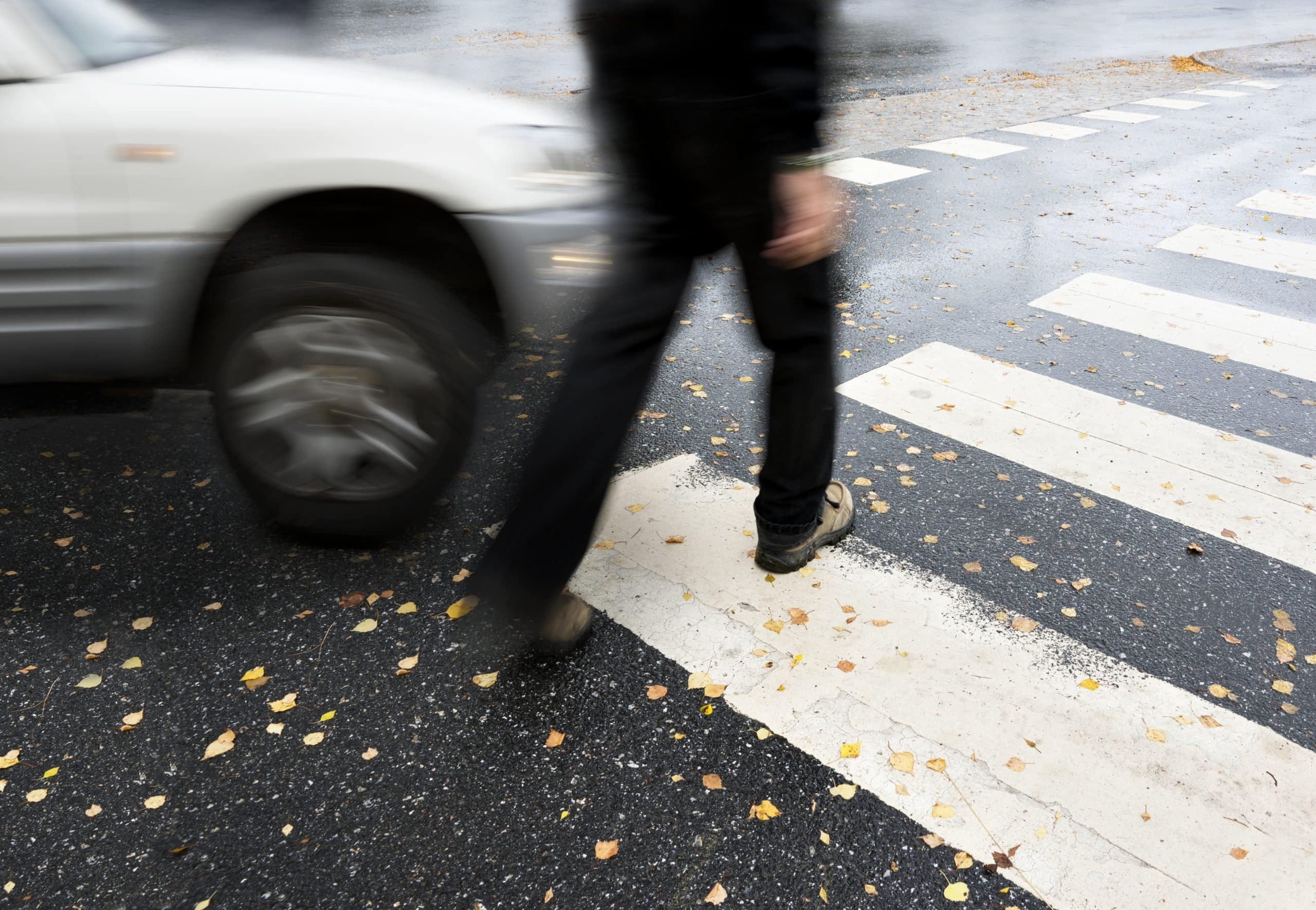 Pedestrian about to be hit by car